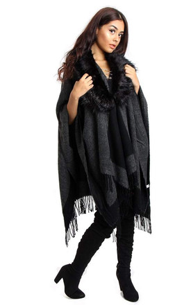 Black/Grey Border Block Blanket Cape with Fringe by Urban Mist