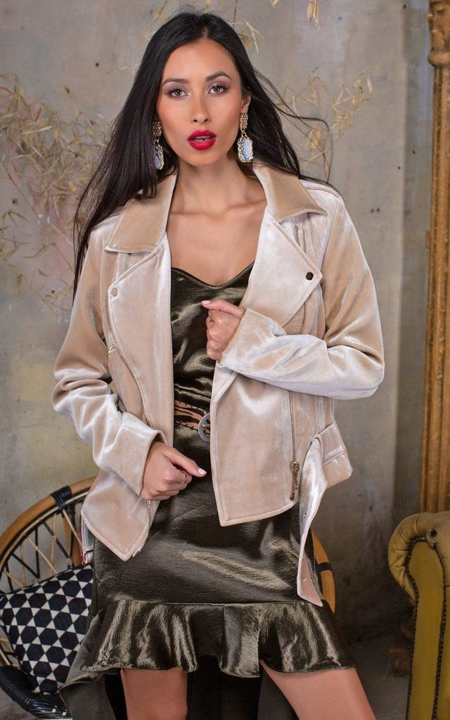 Audrey Gold Velvet Biker Jacket by Lavand Stories