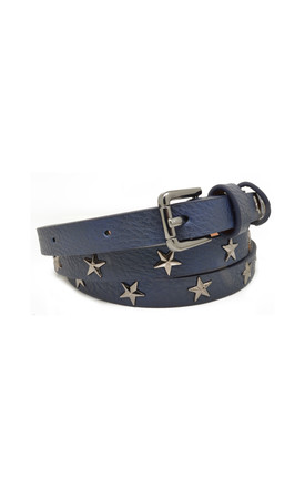Star Studded Belt Navy Blue by White Leaf
