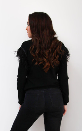 Black Feather Shoulder Jumper by Styled By Grazia