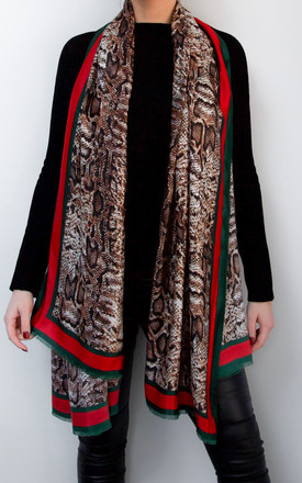 Brown Snake Print Statement Scarf by Styled By Grazia