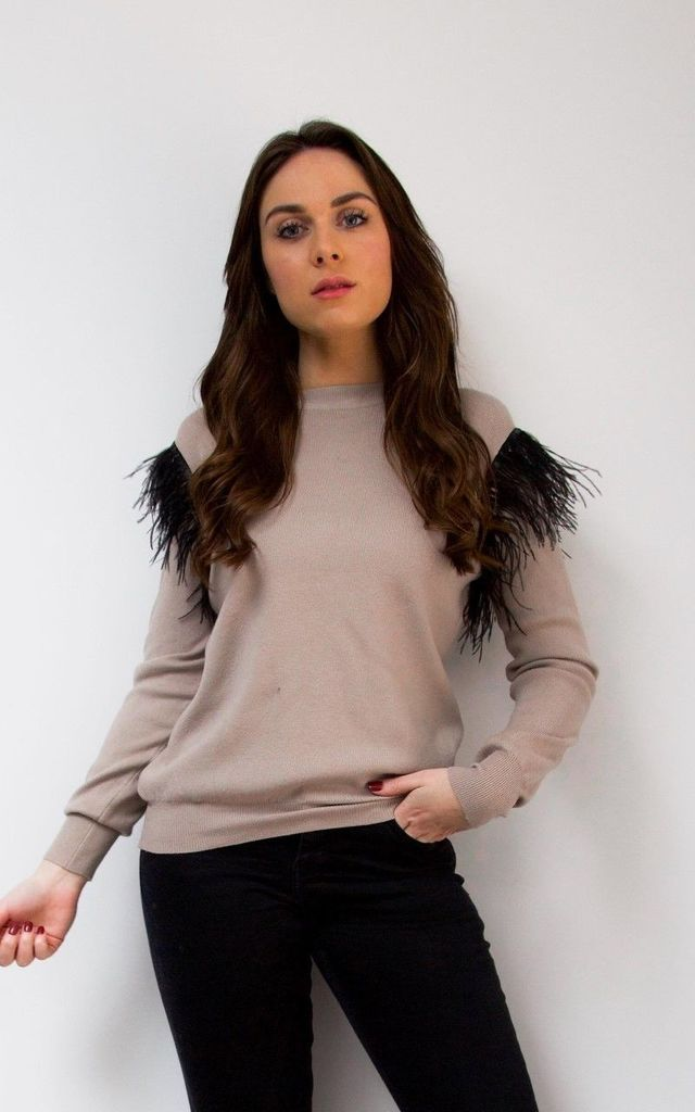 Nude Feather Shoulder Jumper by Styled By Grazia