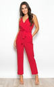 Bella V Neck Wrap Straight Leg Jumpsuit Red by Girl In Mind