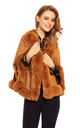 Ladies Faux Fur Cape Jacket in Tan by Looking Glam