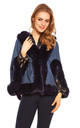 Ladies Faux Fur Cape Jacket in Navy by Looking Glam