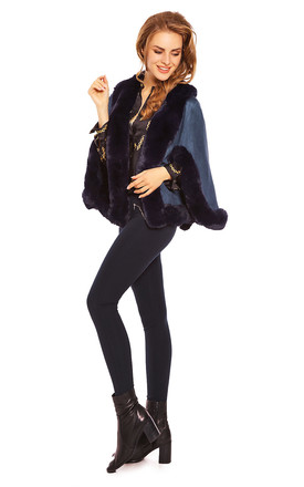 Faux Fur Cape Jacket in Navy by Looking Glam