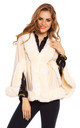 Ladies Faux Fur Cape Jacket in Cream by Looking Glam