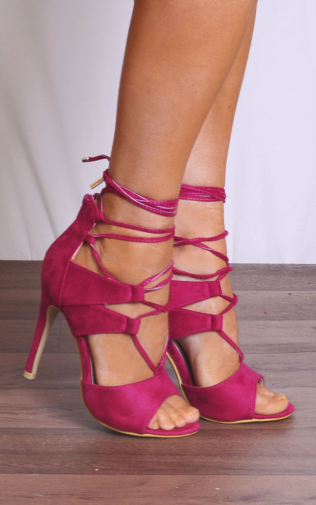 Fuchsia Pink Barely There Ankle Strap Strappy Sandals Stilettos High Heels by Shoe Closet