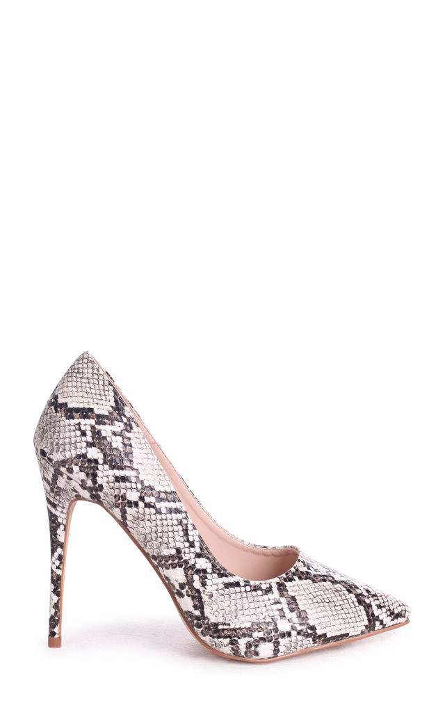 Aston Taupe Snake Nappa Classic Pointed Court Heel by Linzi