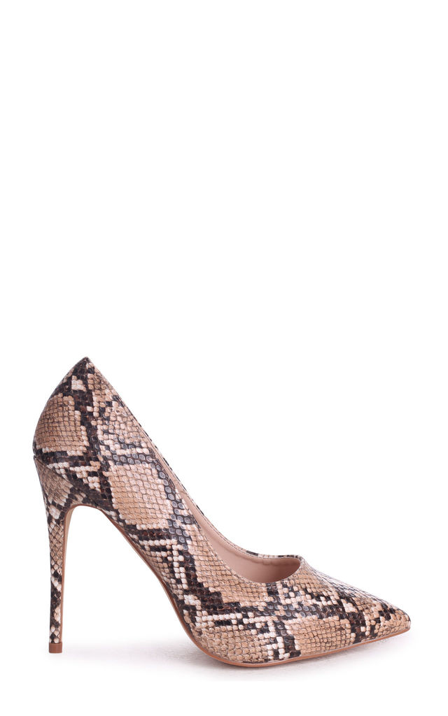 Aston Brown Snake Nappa Classic Pointed Court Heel by Linzi