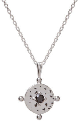 Silver Chain Necklace With Black Baby Amalfi Coin Pendant by Kim Minchin Jewellery Product photo