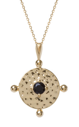 Gold Chain Necklace With Black Amalfi Coin Pendant by Kim Minchin Jewellery Product photo