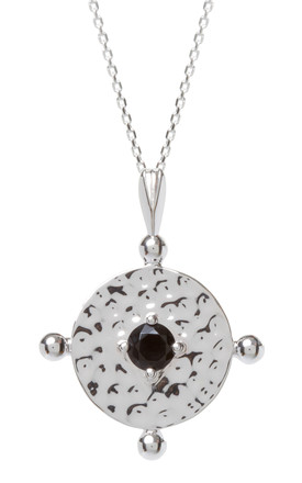 Silver Chain Necklace With Black Amalfi Coin Pendant by Kim Minchin Jewellery Product photo