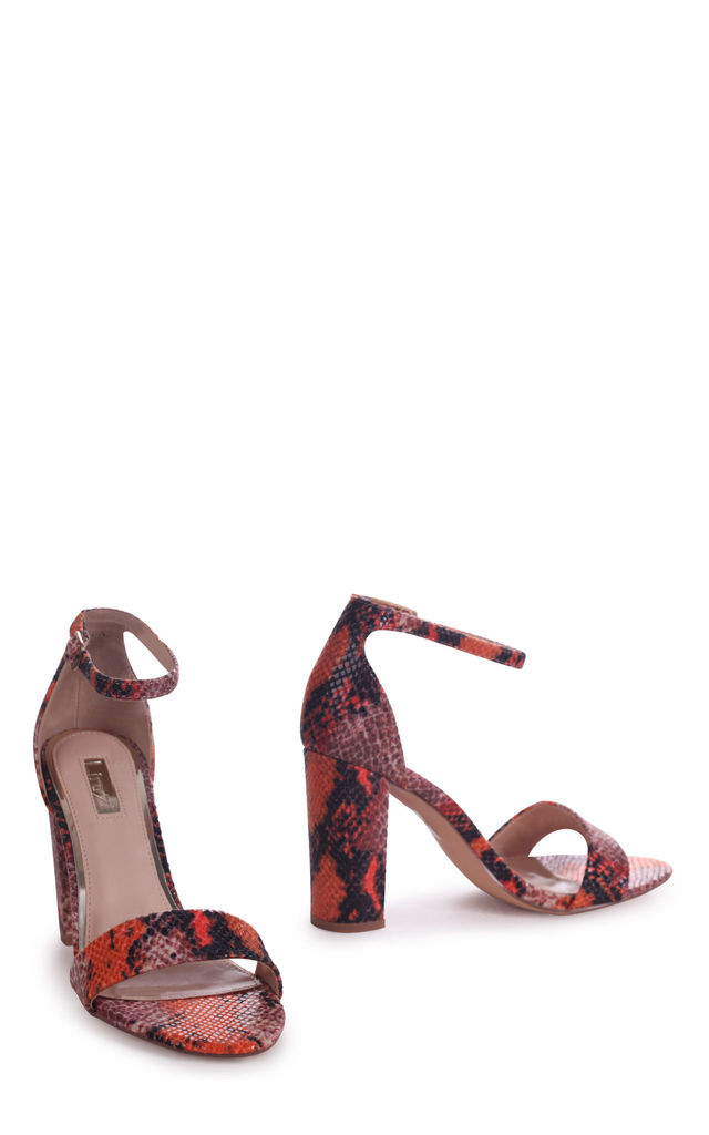 Nelly Orange Snake Nappa Suede Single Sole Block Heel by Linzi