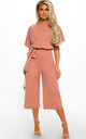 Always Chic Rose Pink Belted Culotte Jumpsuit by Pink Boutique