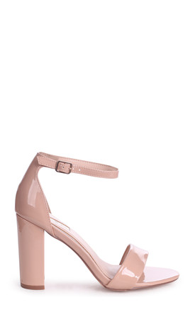 Nelly Nude Faux Patent Leather Suede Single Sole Block Heel by Linzi