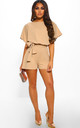Over The Top Stone Belted Playsuit by Pink Boutique