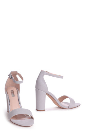 Nelly Grey Glitter Suede Suede Single Sole Block Heel by Linzi