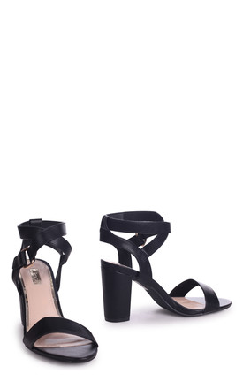 Abby Black Nappa Block Heeled Sandal by Linzi