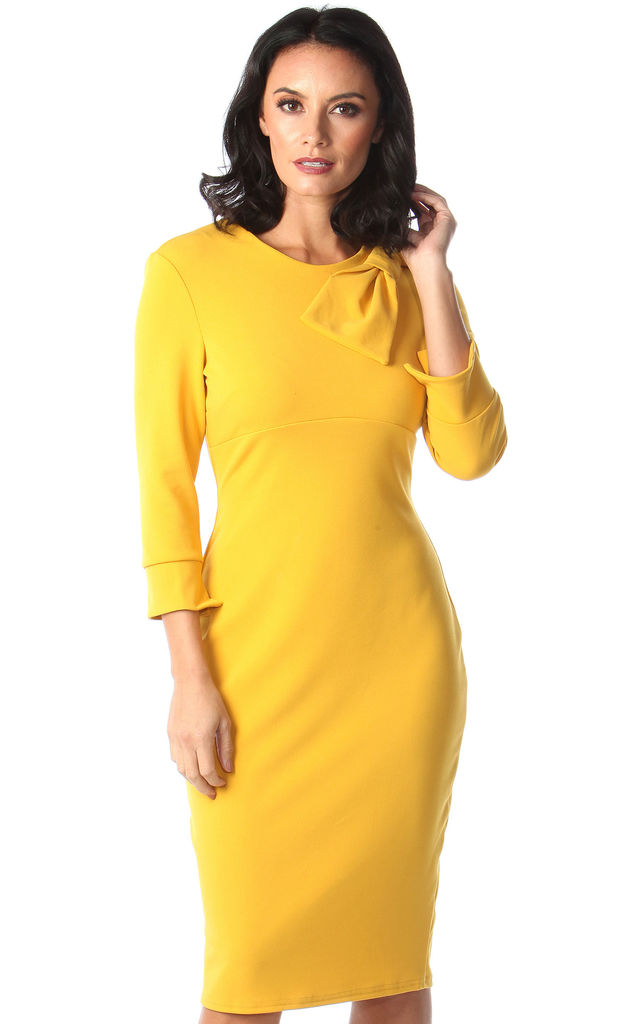 Mustard Ashley Bow Dress by Want That Trend