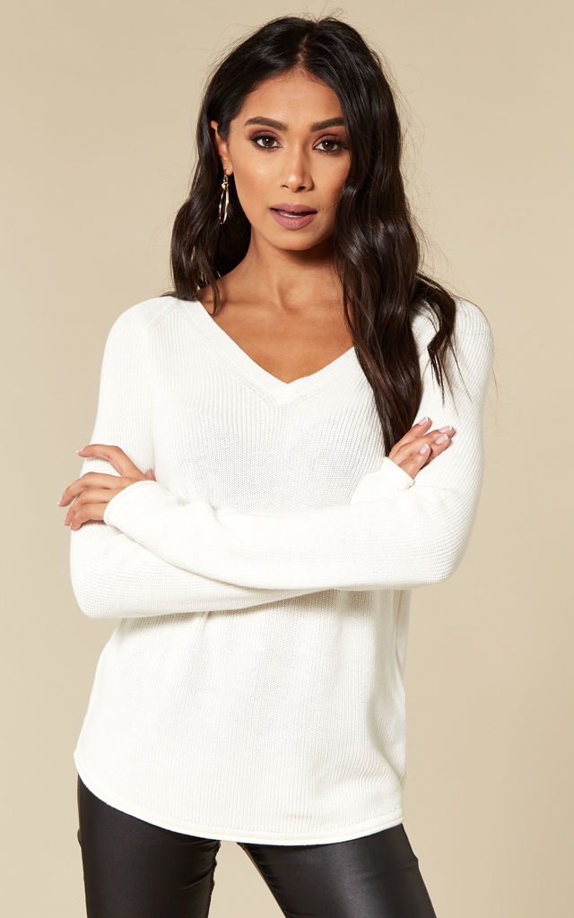 White V-Neck Knit by VM