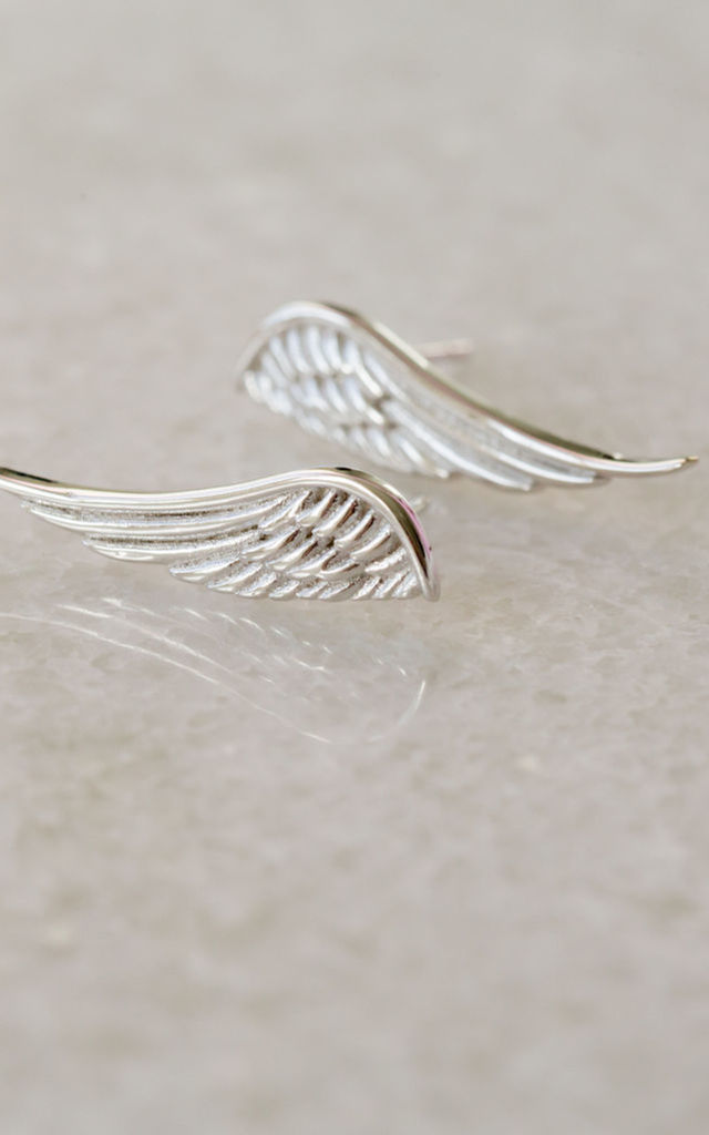 Silver Angel Wing Studs by Booboo Boutique