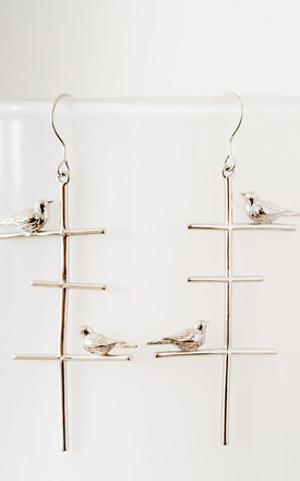 Silver Birds on a Wire Earrings by Booboo Boutique
