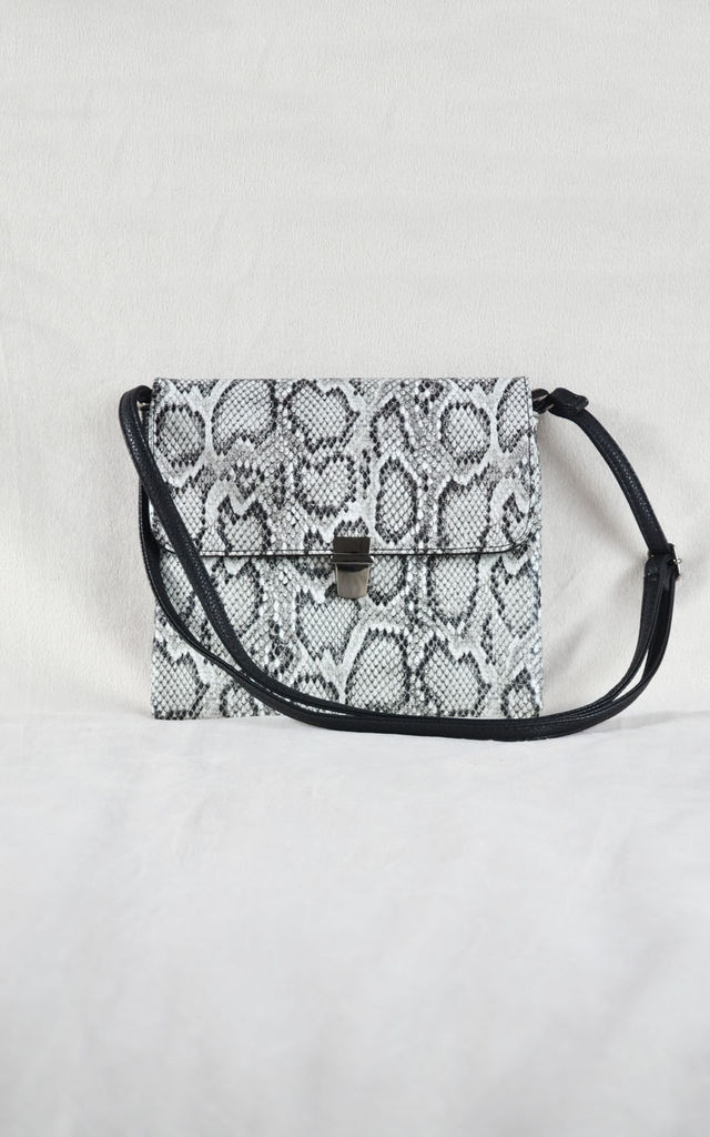 Snake Print Messenger Bag in Grey by Candypants