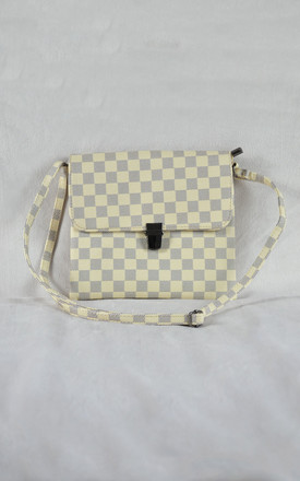 Check Messenger Bag in Cream and Grey by Candypants
