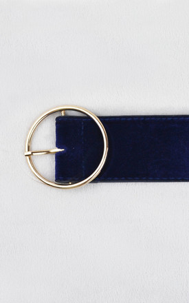 Navy Velvet Belt with Gold Circle Buckle by Candypants