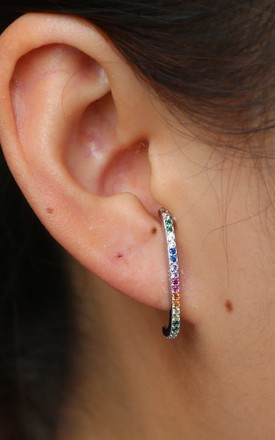 STERLING SILVER RAINBOW CUBIC ZIRCONIA STONE BAR EARRINGS by EPITOME JEWELLERY