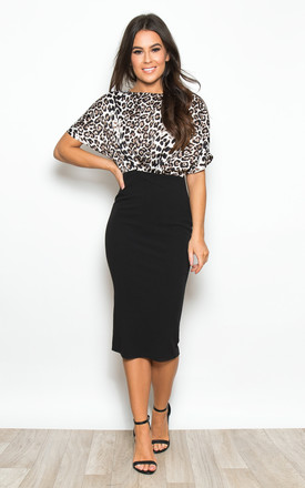 Fleur Batwing Top Bodycon Midi Dress Black / Leopard Print by Girl In Mind Product photo