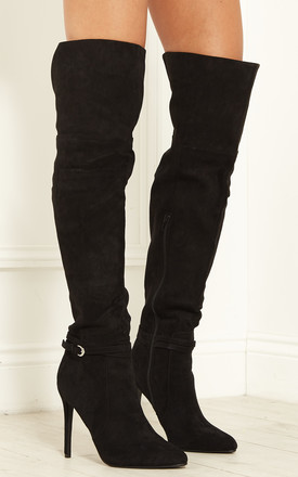 Stella Simple Buckle Over The Knee Stiletto Boots by LOST INK