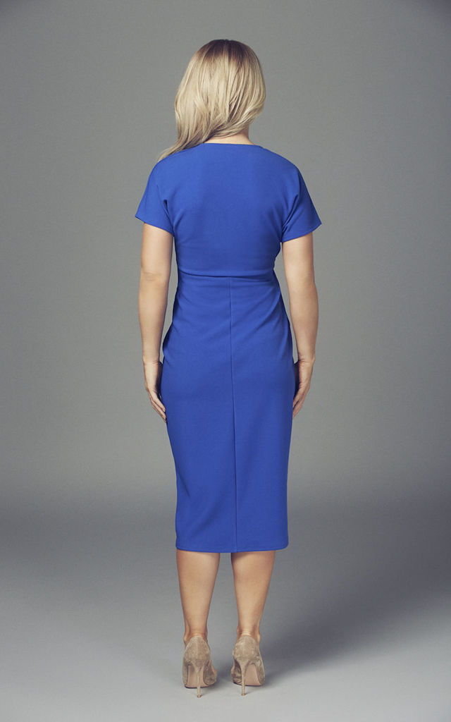 Maternity Cobalt Blue Short Sleeve Wrap Over Belted Dress by Want That Trend Maternity