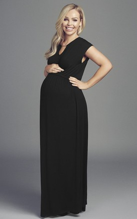 95c397102939e Katie Piper Maternity Black Maxi Dress With Silver Detail