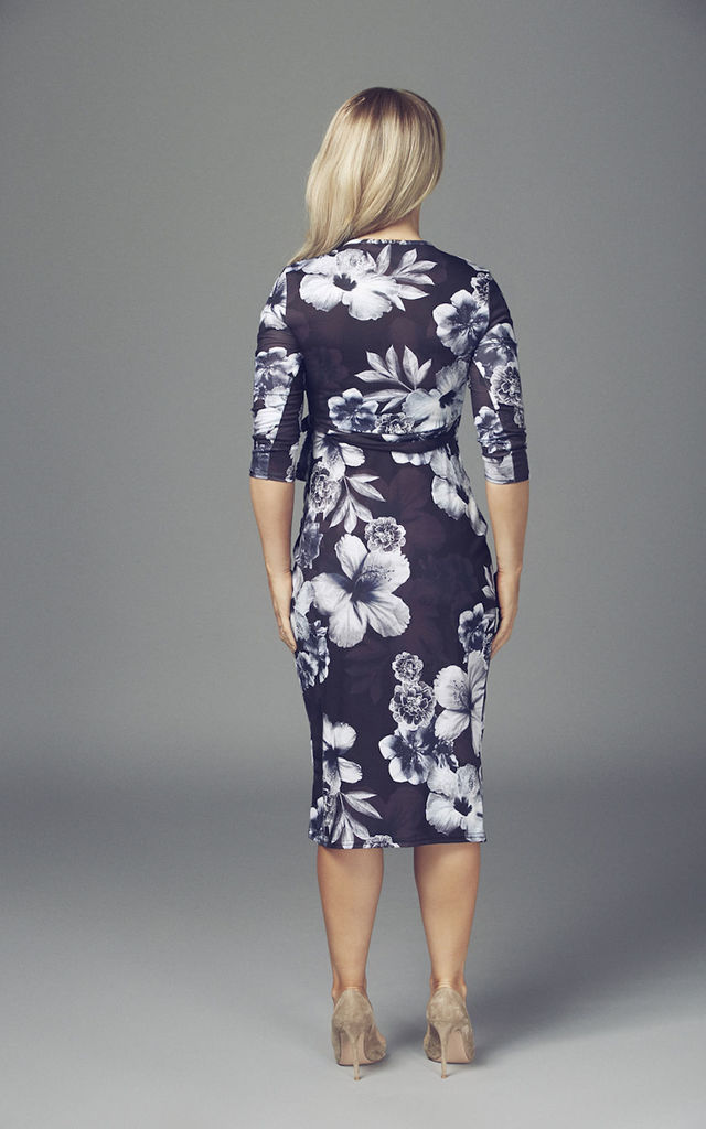 Maternity Black Daphne Wrap Over Floral Belted Midi Dress by Want That Trend Maternity