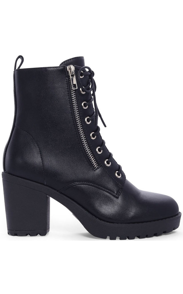 Black Faux Leather Zip Military Lace Ups Cleated Block High Heeled Ankle Boots by Shoe Closet