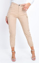 High waisted utility cargo trousers  beige by LILY LULU FASHION