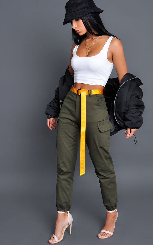 High waisted utility cargo trousers khaki by LILY LULU FASHION