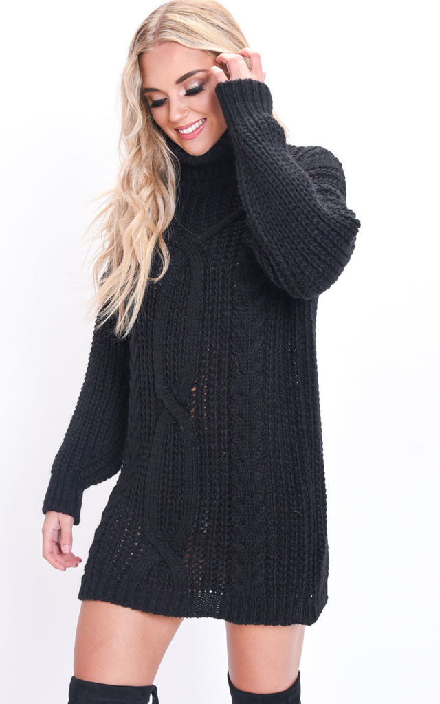 Cable Knit Roll Neck Jumper Dress Black by LILY LULU FASHION