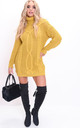 Cable Knit Roll Neck Jumper Dress Yellow by LILY LULU FASHION