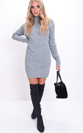 Turtleneck knit bodycon jumper dress grey by LILY LULU FASHION