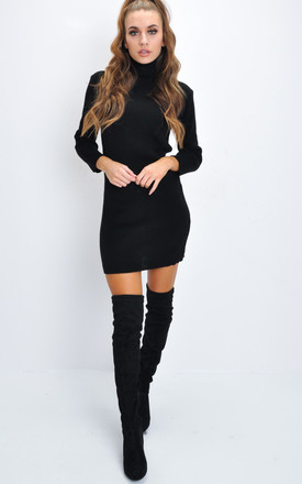 Turtleneck knit bodycon jumper dress black by LILY LULU FASHION
