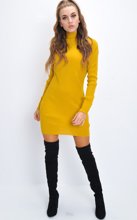 Turtleneck knit bodycon jumper dress yellow by LILY LULU FASHION