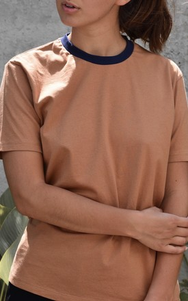 Sophia T Shirt Tan And Navy by Ararose Clothing Product photo