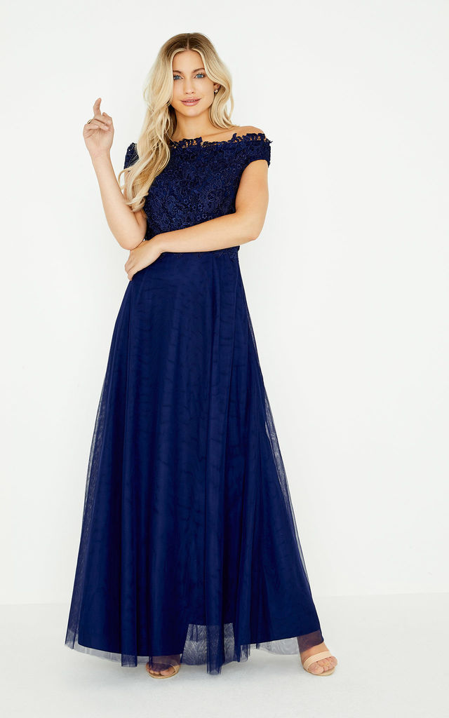 c3b962efe875a Lizzy Navy Lace Bardot Maxi Bridesmaid Wedding Dress by LITTLE MISTRESS