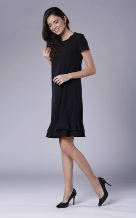 Black Frill Dress With Short Sleeves by Bergamo