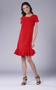Red Frill Dress With Short Sleeves by Bergamo