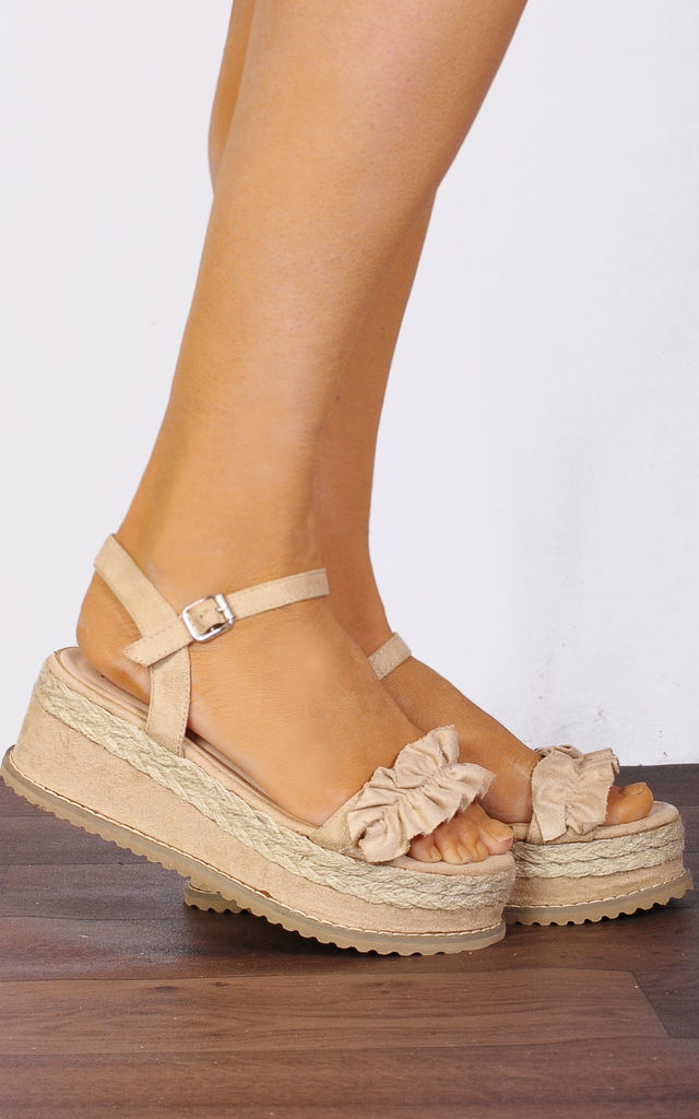48bd30d43469 Beige Nude Frill Canvas Wedged Platforms Wedges Flatforms Strappy Sandals  by Shoe Closet