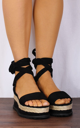 Black Thick Lace Wrap Round Canvas Wedged Platforms Wedges Flatforms Strappy Sandals by Shoe Closet